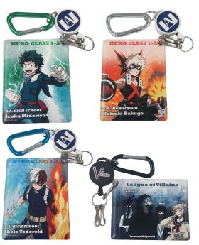 Boku No Hero Academia Chara-Ani Pass Case with Reel and Carabiner