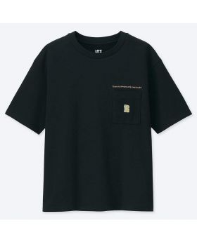 MANGA UT Uniqlo T-Shirt Detective Conan Black Pocket Design