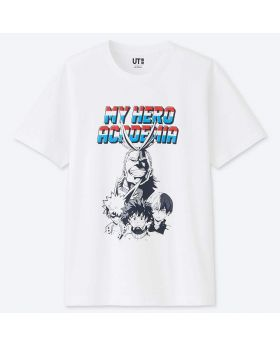 MANGA UT Uniqlo T-Shirt Boku No Hero Academia All Might White Design