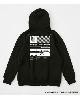 Attack On Titan Shingeki No Kyojin x R4G Collaboration Survey Corps Zip Hoodie Black