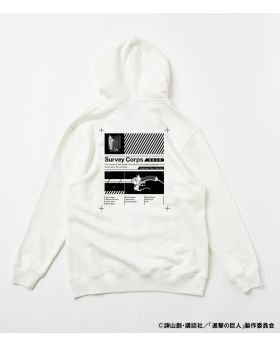 Attack On Titan Shingeki No Kyojin x R4G Collaboration Survey Corps Zip Hoodie White
