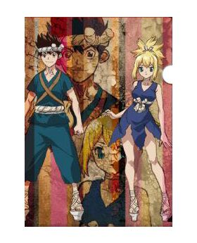 Dr. STONE SCRAP Escape Room Event Collaboration Goods Mysterious Clear File Chrome and Kohaku